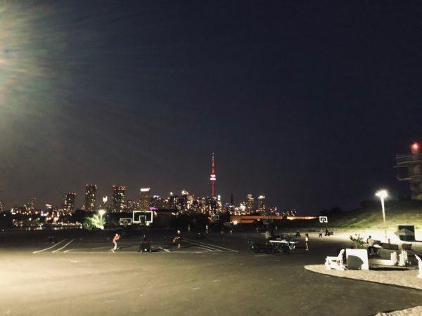 Night view of Toronto skyline from Ontario Place